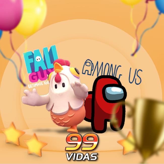 99Vidas 438 - Among Us e Fall Guys